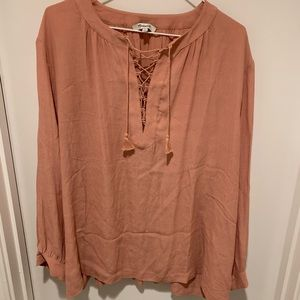 Madewell Blush Pink Long Sleeve Lace-Up Blouse